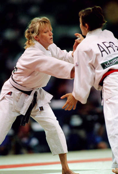 Canadas Natalie Gosselin left competes in the judo event at the 1996 Atlanta Summer Olympic Games